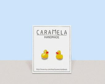 Yellow Rubber Duck / Yellow Duck Earrings / Yellow Rubber Duck Studs / Gift For Her