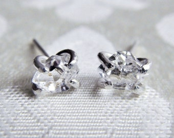 Herkimer Diamond Crystal Stud Earrings - Raw Crystal Earrings - Wedding Jewelry - Bridal Jewelry - Sterling Silver Earrings - Gift for Bride