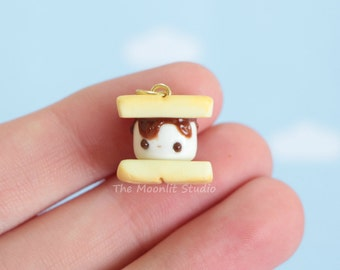 Kawaii S'More Charm, Polymer Clay Miniature