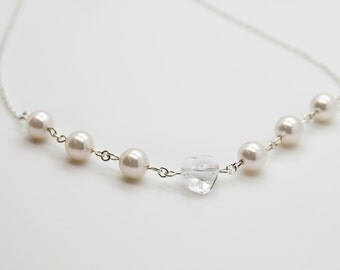 Crystal Heart Necklace ~  Bridal Pearl Choker, Romantic Necklace,  Wedding Party Gift,  Bridesmaid Favors, Sterling Silver Necklaec GS810017
