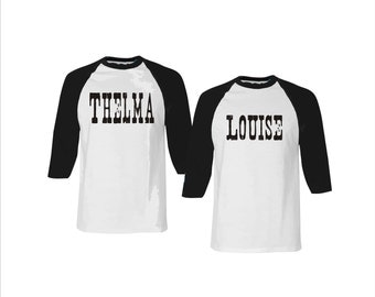 Thelma and Louise Baseball shirt set. Best Friends. American Apparel. Sisters. Funny. Besties.