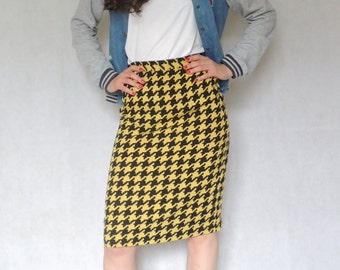 Vintage Black and Yellow Aabstract Print Midi Pencil Summer Skirt