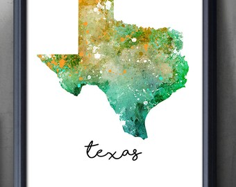 Texas State Map Watercolor Art Poster Print - Wall Decor - Watercolor Wall Art - Artwork- Watercolor Painting - Illustration - Home Decor