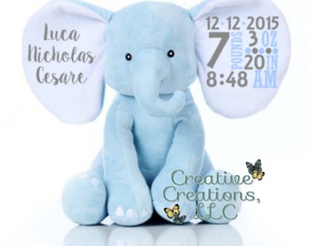 Personalized Elephant Plush - Blue, Pink, or Gray