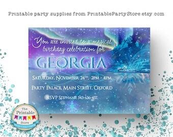 Printable Frozen Party Invites | Frozen Invitation | Frozen Birthday Party Invitation | Personalised Printable | Party Supplies | PRINTABLE