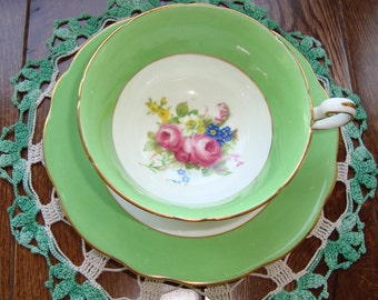 Foley - Bone China England - Vintage Tea Cup and Saucer - Light Green Band with Multifloral Center and Gold Trim