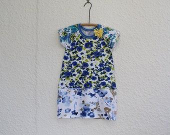 Kid's Dress, Upcycled T Shirt Dress, Girl's Size 6 TShirt Dress, Recycled T Shirt Dress, Girl's Dress, Repurposed T Shirt Dress,OOAK Dress
