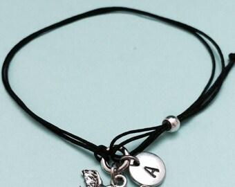 Bird cord bracelet, bird charm bracelet, adjustable bracelet, charm bracelet, initial bracelet, monogram, personalize bracelet