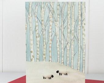 Sheep in winter woodland Christmas Card, woolly sheep Xmas card