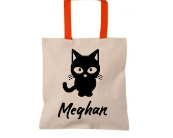 Halloween Trick or Treat Bag, Cat's Meow Personalized Halloween Tote Bag, Canvas Tote Bag, Black Halloween Bag, Candy Collector