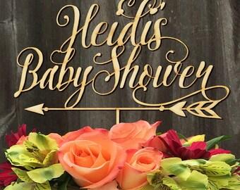 Baby Shower Custom Cake Topper - Arrow Cake Topper - Personalized Cake topper - Cake topper for baby shower