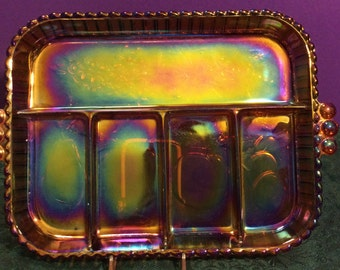 Amber Carnival Glass Relish Tray