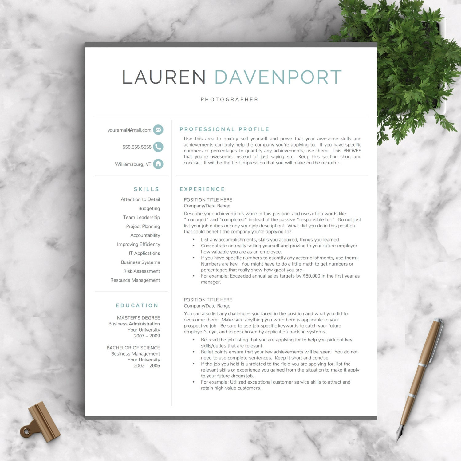 modern resume template    professional resume by