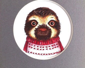 Sloth print, sloth in a jumper! Sloth picture, 7 x 5 white or grey mount