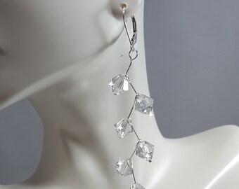 Long Swarovski Crystals earrings, sterling silver .925,