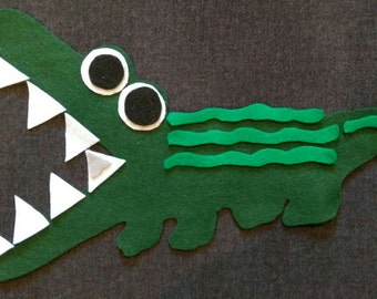 Crocodile Smile ToothAche Guessing Game Felt Set// Flannel Board // Imagination // Children // Preschool // Creative Play // Cognitive Game