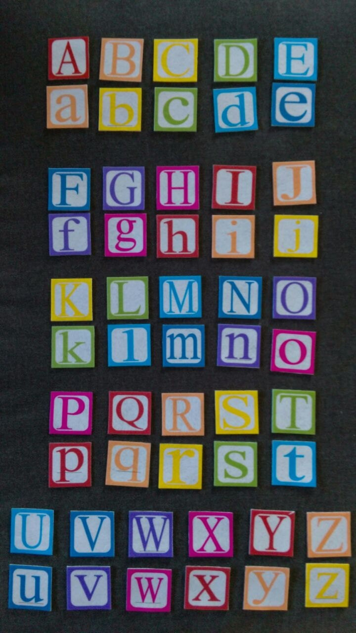 Felt upper and lower case block letters set flannel board for Flannel board letters