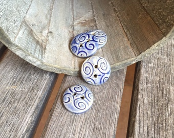 Blue Ceramic Buttons| Set of 4 handmade small round stoneware buttons | Collectible Buttons | Ceramic Accents for knitware or craftst
