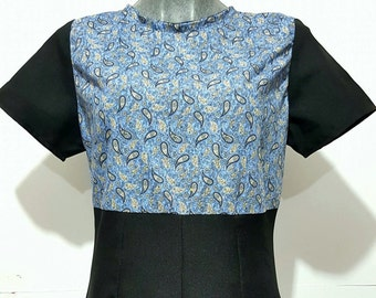 Vtg, 60s, mod, minidress , retro  vintage inspired,paisley, black and blue