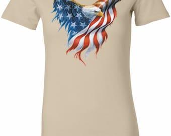USA Eagle Flag Ladies Longer Length Tee T-Shirt WS-12260-6004