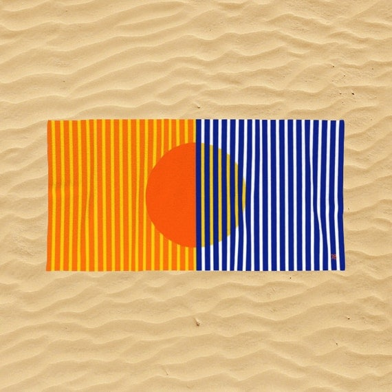 Sunset Striped Beach Towel Retro 70s Stripes Modern Beach Towel Sunset Beach Art