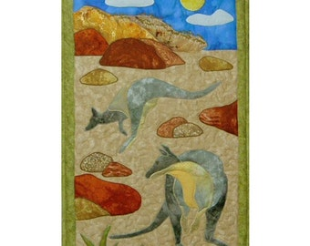 Kangaroos  is a quilted applique pattern for a wall hanging