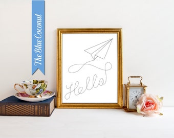 Paper Airplane Printable, Hello Kids Wall Art, Nursery Art Print for Baby Nursery Decor, Children Wall Art Aeroplane Paper Airplane