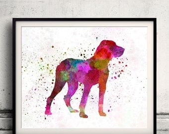 Ariege Pointer 01 in watercolor - Fine Art Print Poster Decor Home Watercolor Illustration Dog - SKU 2010