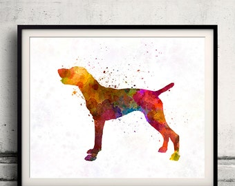 German Short haired Pointer in watercolor 8x10 in. to 12x16 in. Fine Art Print Glicee Poster Decor Home Watercolor Illustration - SKU 1167