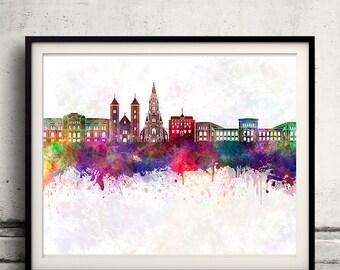 Bergen skyline in watercolor background - Poster Digital Wall art Illustration Print Art Decorative - SKU 1399