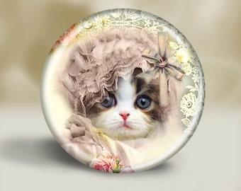 Vintage Bonnet Kitten Pocket Mirror, Friendship, Small gift, Thank you, Coworker