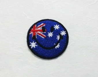 Australia Smiley Face Iron on Patch - Australia Flag Applique Embroidered Iron on Patch/Australia Flag  Patch