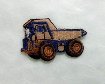 Dump Truck Iron on patch (S) 5.2 x 3.4 cm -  Light Brown Dump Truck Applique Embroidered Iron on Patch # 5