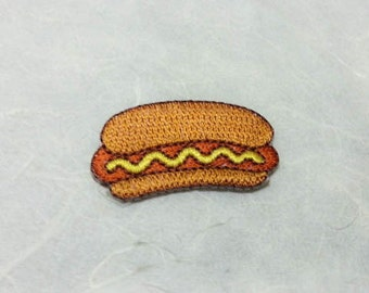Hot Dog Iron on Patch(S) - Burger Applique Embroidered Iron on Patch- Size 3.9x2.2 cm