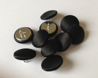 Black Satin covered buttons  15 mm  19 mm  23 mm   Tuxedo / formal covered buttons