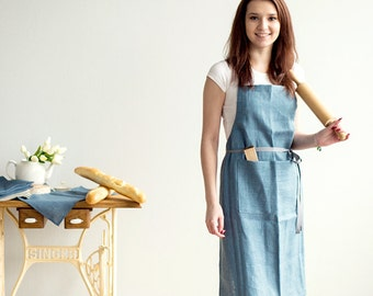 Blue Linen Traditional Apron with pockets