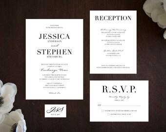 Black Tie Wedding Invitation, Printable Digital File