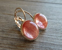 Cherry quarz earrings in rose gold setting