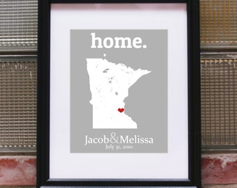 Minnesota Wall Art, Custom State Map, Minnesota State Map, Personalized Map Gifts, Anniversary Gifts for Boyfriend, Gifts for Girlfriend