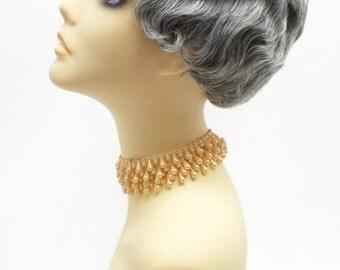 1920s Style Short Salt N Pepper Gray Finger Wave Wig. Marcel Wave Vintage Style Costume Wig. Heat Resistant Wig. [69-377-HTBebe-51]