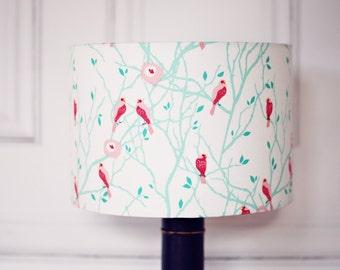Birds Lampshade, lampshade, pink and white decor, home decor, birds home decor, nature lampshade, woodland lamp shade, drum lampshade, shade