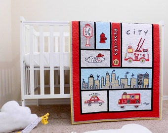 Firefighter Baby quilts, fireman crib bedding, firetruck quilts, fire rescuers theme, Firefighters crib bedding, firefighters nursery.
