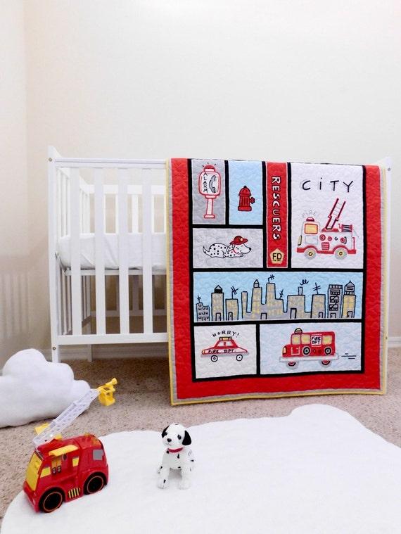 Fire Truck Crib Bedding : Firefighter baby quilts fireman crib bedding firetruck