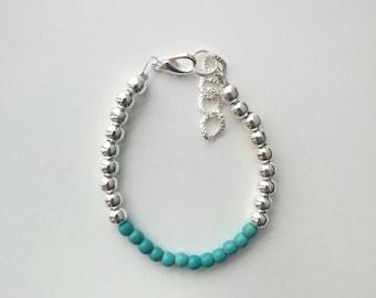 Turquoise silver bracelet, flower girl jewelry, kids bracelet, toddler bracelet, baby jewelry, baby girl bracelet, flower girl jewelry