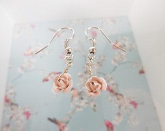 Rose Earrings, Handmade Jewellery, Petite Earrings, Floral Petals, Flower Jewellery, Repurposed Earrings, Gift for Her