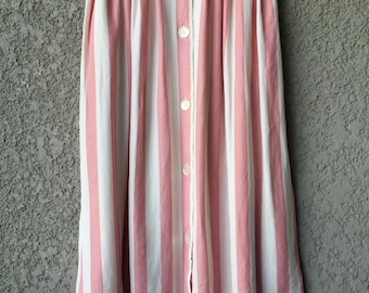 Pink and white striped Tofy midi skirt