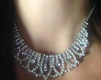 vintage  deco faux diamond necklace..
