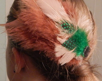 Handmade Green, Tan and Rust Feather Hair Clip with Button