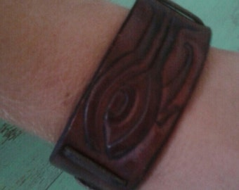 Brown Hand Made Leather Cuff with Egyptian Detail All Seeing Eye