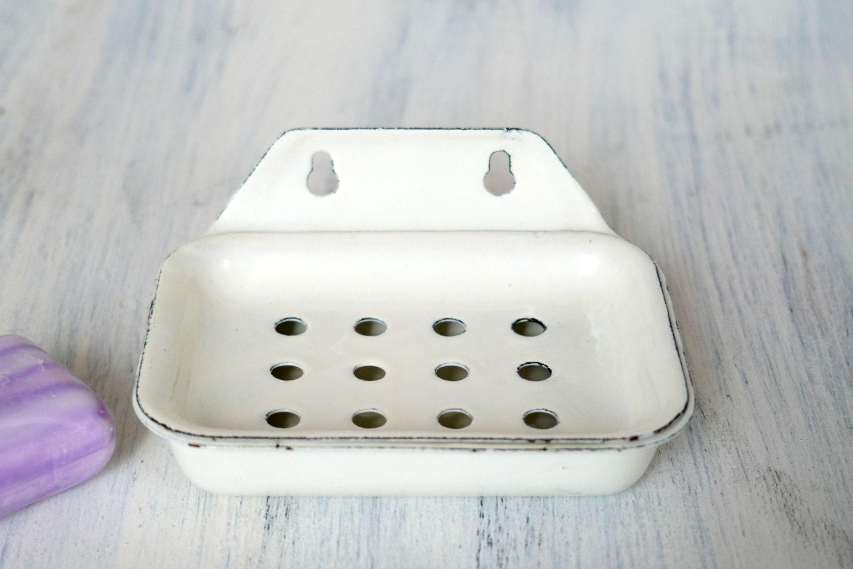 Vintage Enamel Soap Dish Soviet Enamelware Rustic Bathroom
